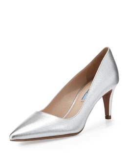 Prada Metallic Saffiano Low-Heel Pointy Pump