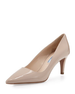 Prada Vernice Saffiano Low-Heel Pointy Pump