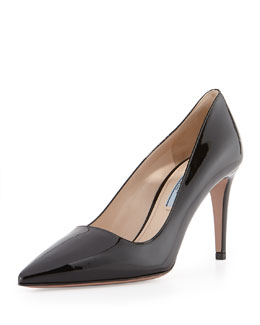 Prada Patent Leather Point-Toe Pump, Black