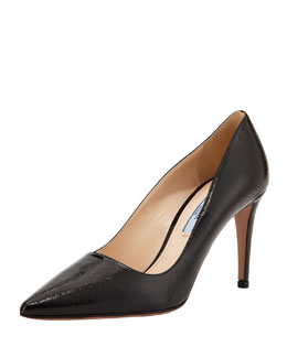 Prada Vernice Saffiano Pointy Leather Pump