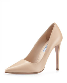 Prada Leather High-Heel Pointy Pump, Nude