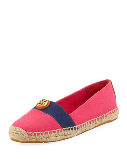 Tory Burch Beacher Canvas Espadrille Flat, Pink/Navy
