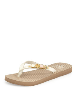 Tory Burch Kiley Leather Charm Flat Flip-Flop, Ivory