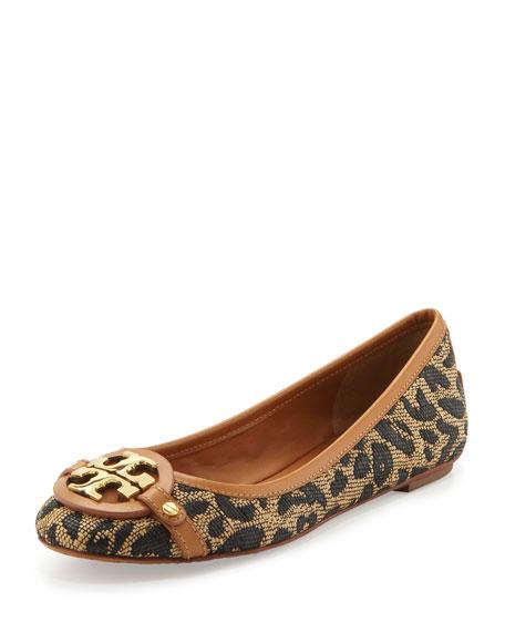 Aaden Woven Leopard-Print Ballerina