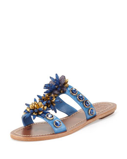 Tory Burch Sydney Embellished Patent Sandal, Wedge Blue