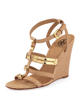 Tory Burch Iliana Snake-Print Gladiator Wedge, Clay Beige