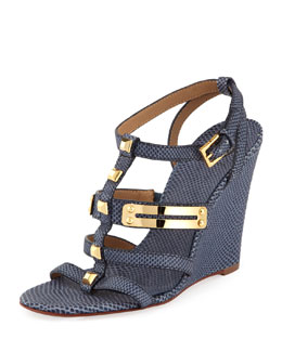 Tory Burch Iliana Snake-Print Gladiator Wedge, Newport Navy