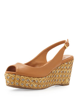 Tory Burch Rosalind Slingback Wedge Sandal, Tan