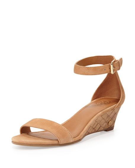 Savannah Suede Demi-Wedge Sandal, Capri Tan