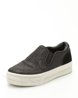Ash Jungle Bis Glitter Slip-On, Black