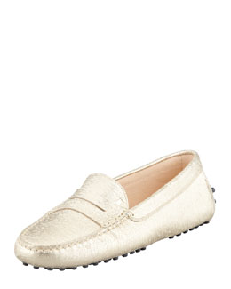 Tod's Metallic Penny Keeper Moccasin, Gold
