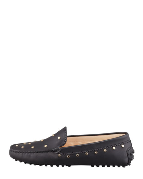Studded Leather Driver, Black