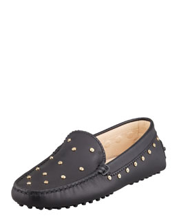 Tod's Studded Leather Driver, Black