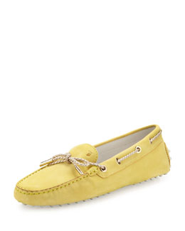 Tod's Heaven Laccetto Suede Loafer, Yellow/Gold