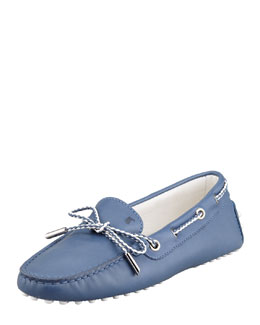 Tod's Heaven Laced Leather Driver, Denim Blue/White