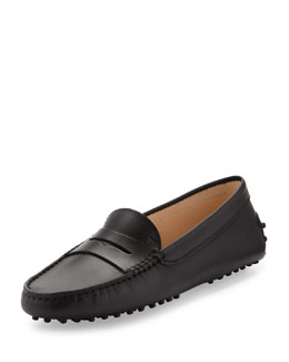 Tod's Leather Gommini Moccasin, Black