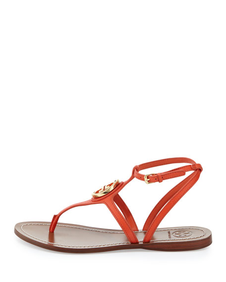 Leticia Logo Thong Sandal, Poppy Red