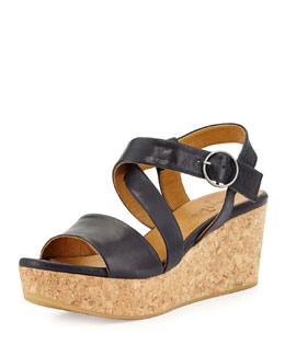 Coclico Mel Strappy Cork Wedge Sandal, Navy