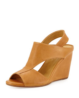 Coclico Jaquen Leather Slingback Wedge, Tan