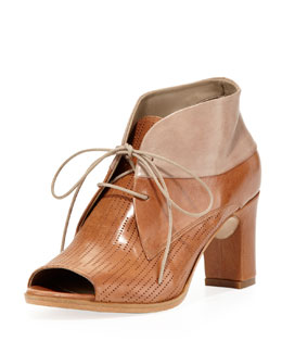 Alberto Fermani Lusiana Lace-Up Leather Bootie, Cuoio
