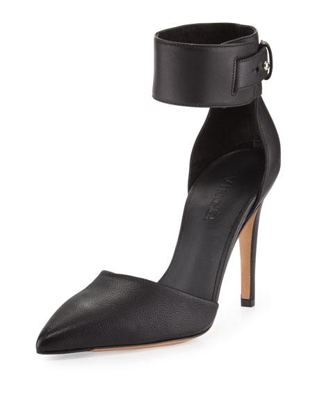 Ada Ankle-Strap Leather Pump, Black