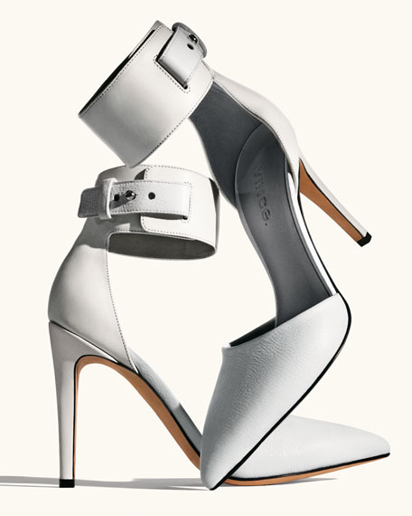 Ada Ankle-Strap Leather Pump, Vanilla
