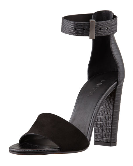 Serena Ankle-Strap Leather Sandal, Black