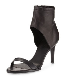 Vince Annalie Leather Ankle-Cuff Sandal, Black