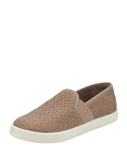 Vince Preston Woven Leather Slip-On, Taupe