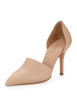 Vince Claire Two-Piece Leather Pump, Cappuccino