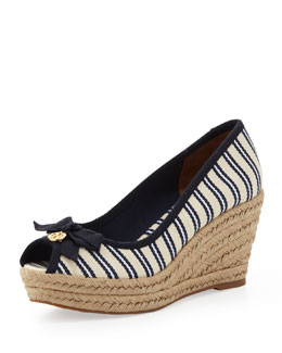 Tory Burch Jackie Striped Peep-Toe Wedge, Ivory/White