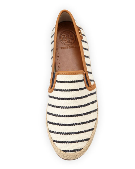 Nessie Striped Canvas Faux-Leather Flats, Fleet Stripe Navy
