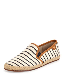 Tory Burch Nessie Striped Canvas Faux-Leather Flats, Fleet Stripe Navy