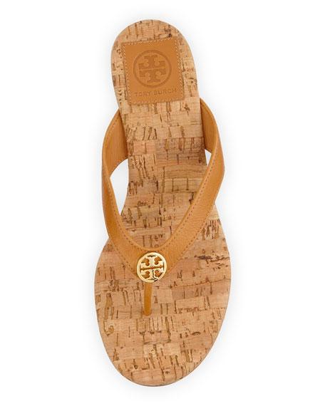 Suzy Logo Thong Wedge Sandal, Tan