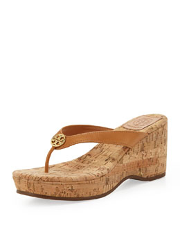 Tory Burch Suzy Logo Thong Wedge Sandal, Tan