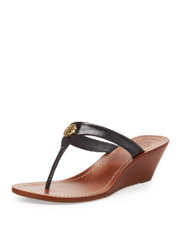Tory Burch Cameron Patent Thong Wedge Sandal, Black