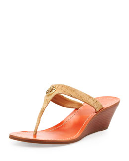 Tory Burch Cameron Cork Thong Wedge Sandal, Natural