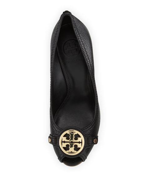 dcfdac108ec3 Tory Burch Leticia Peep-Toe Leather Wedge