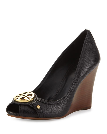 5076c4591881 Tory Burch Leticia Peep-Toe Leather Wedge