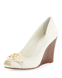 Tory Burch Leticia Peep-Toe Leather Wedge, Ivory