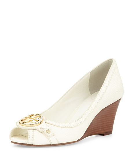 Leticia Peep-Toe Mid-Heel Wedge, Ivory