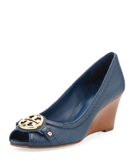 Tory Burch Leticia Peep-Toe Mid Wedge, Newport Navy