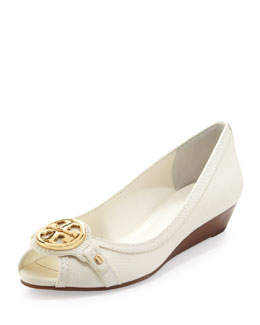 Tory Burch Leticia Peep-Toe Low Wedge, Ivory
