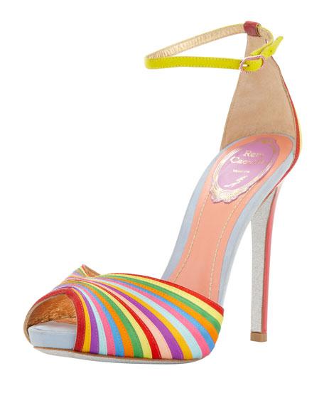 Multicolor Stripe Ankle-Wrap Sandal