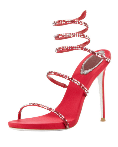 Crystal Spiral Ankle-Wrap Sandal, Red