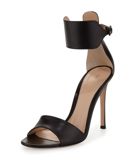 Leather Cuff Ankle-Wrap Sandal, Black