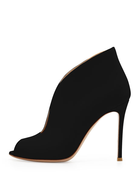Leather Peep-Toe Ankle Bootie, Black