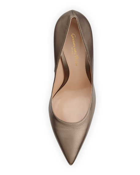 Metallic Leather Point-Toe Pump, Pietra