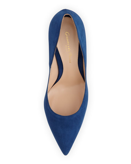 Suede Point-Toe Pump, Navy