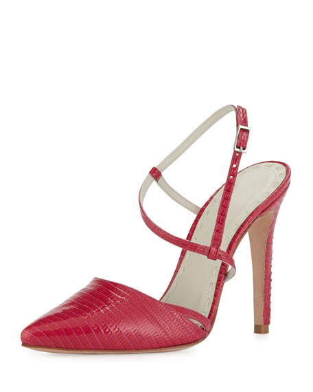 Davey Lizard-Embossed Pump, Hot Pink